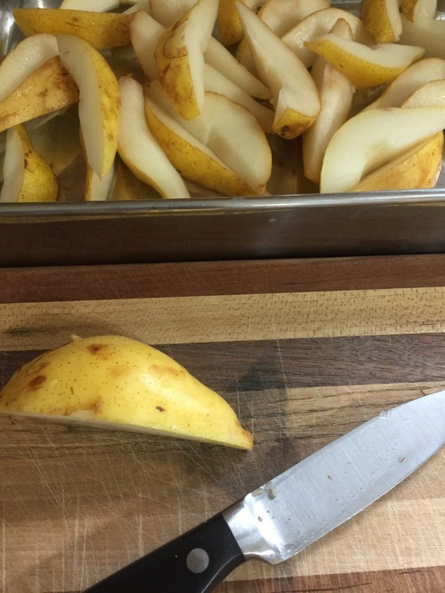 Cutting up the pears