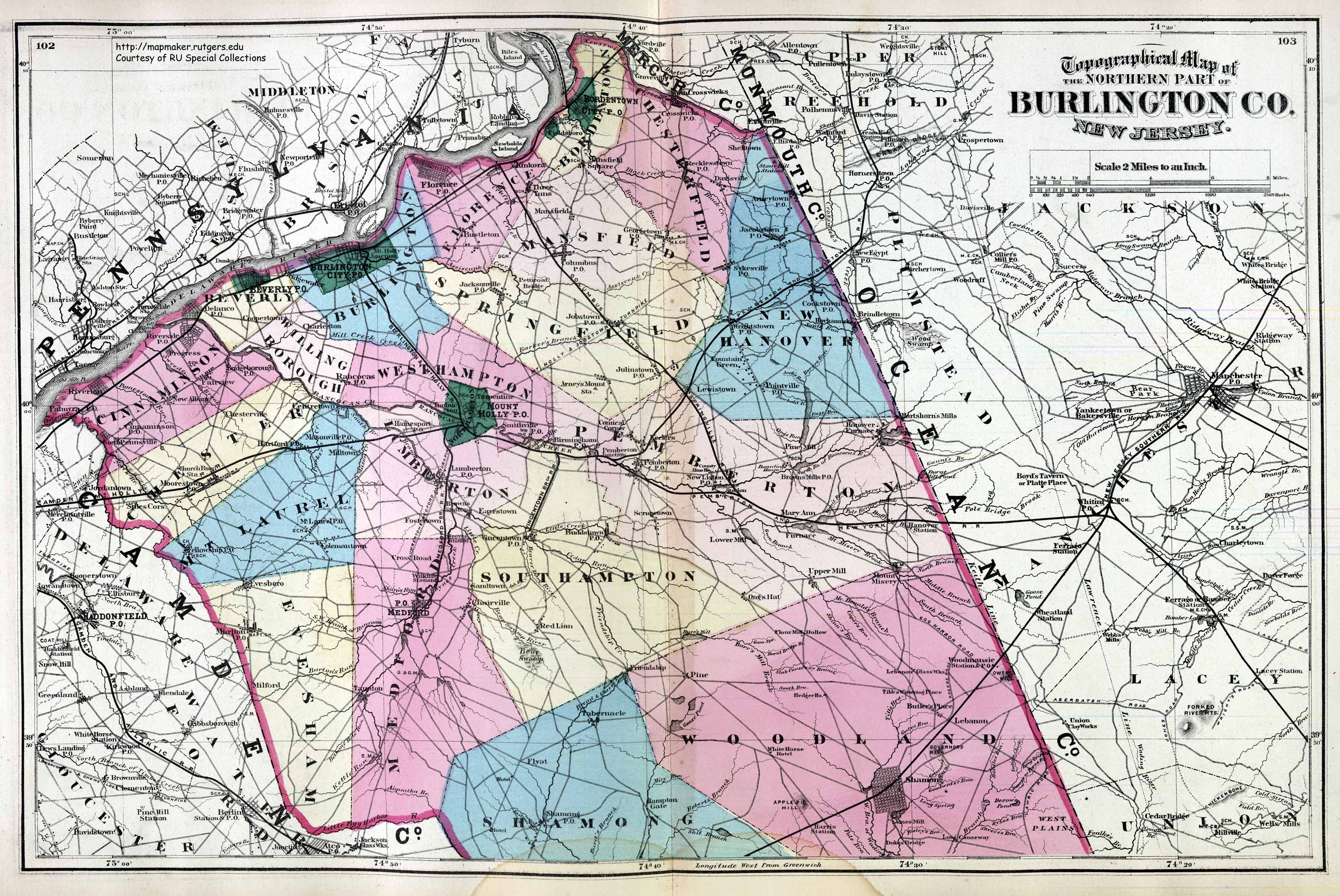 New Jersey Historical Maps BURLINGTON COUNTY NORTH