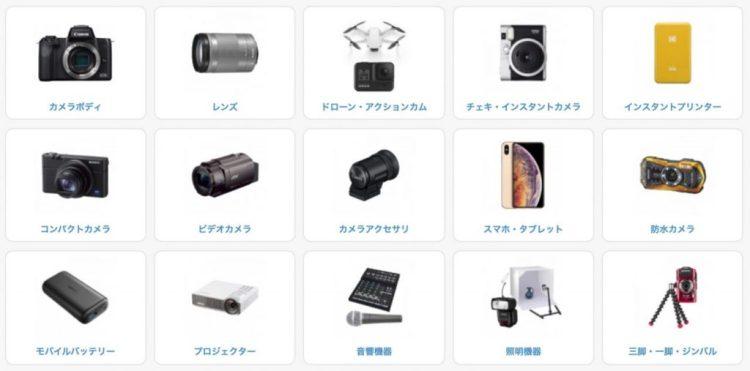 レンタル商品一覧