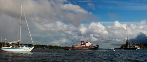 Seahorse Tug, anchored in Ganges Harbour, Salt Spring Island, BC, Canada