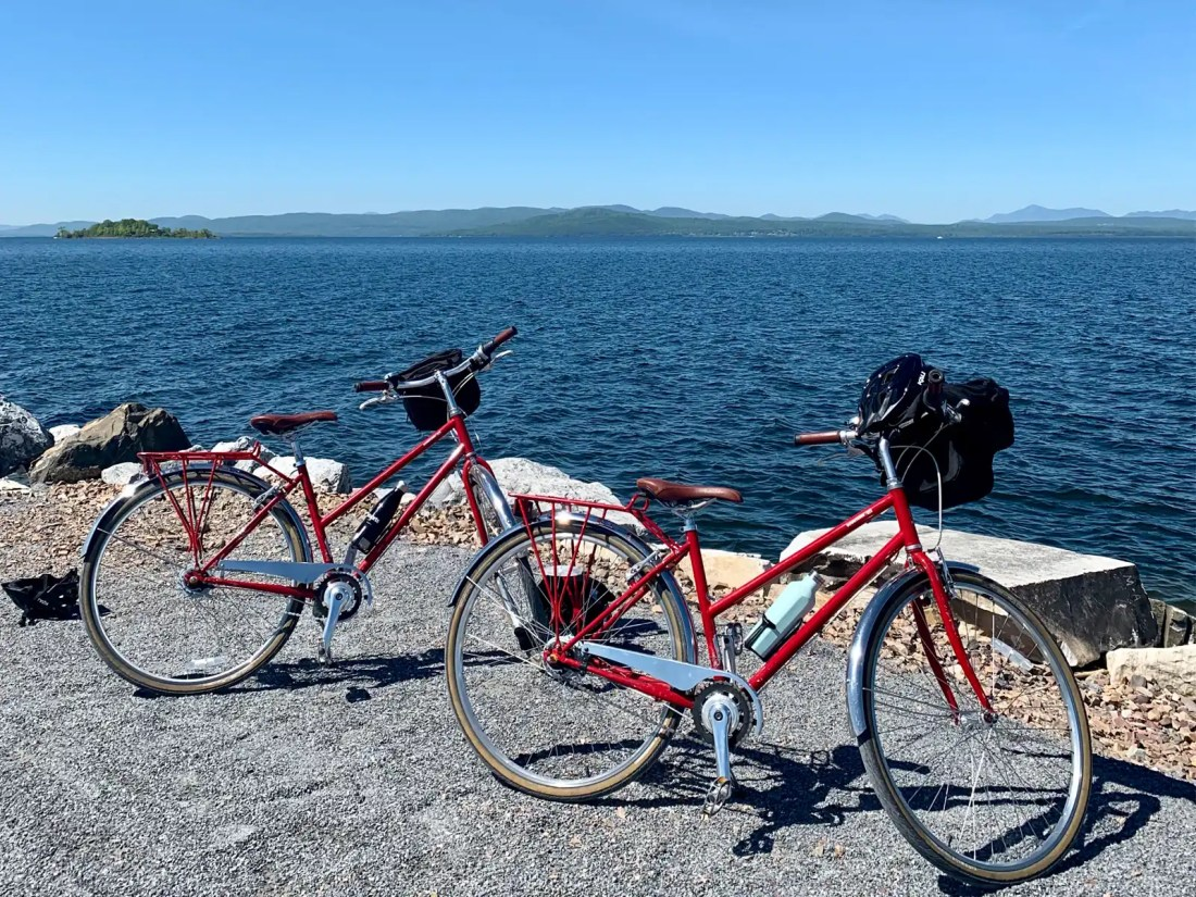 Two bikes on the causeway in Lake Champlain, Burlington, Vermont