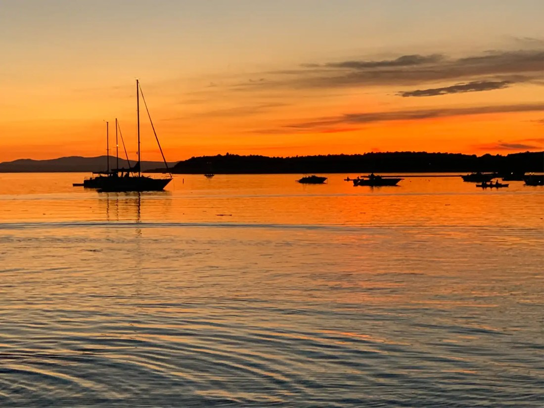 sunset over Lake Champlain in Burlington, Vermont