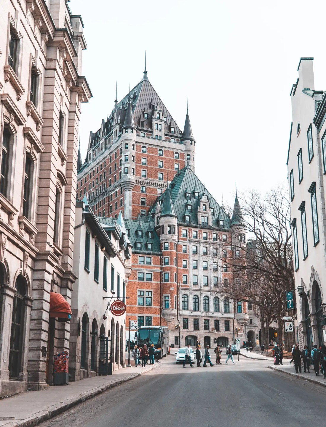 A view of Fairmont Le Chateau Frontenac in Old Quebec City, Quebec, Canada