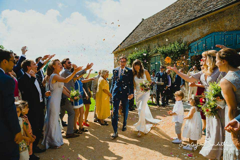 Confetti outside the Coach House at Mapperton, a Dorset Wedding Venue