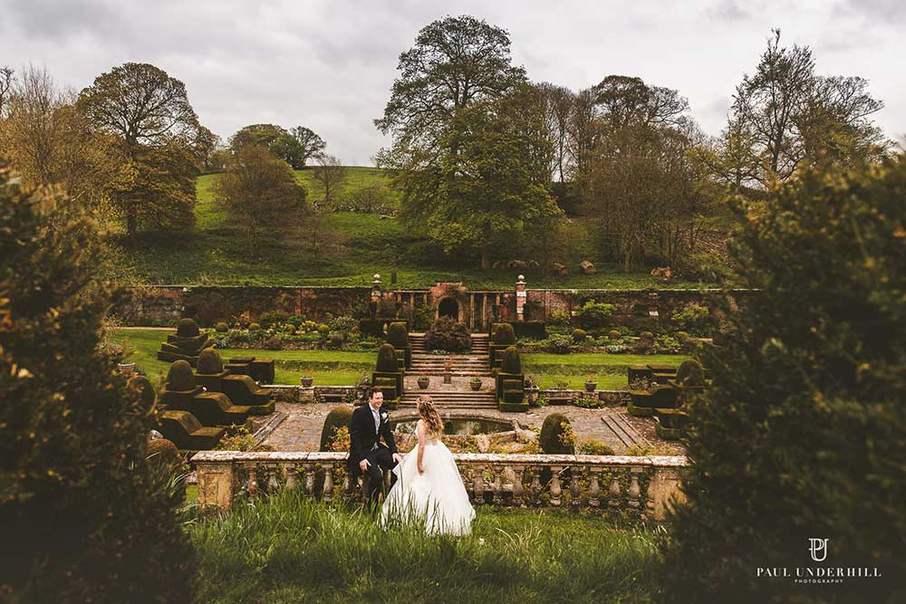 Couple overlooking the Fountain Court in Spring - photo by Paul Underhill Photography