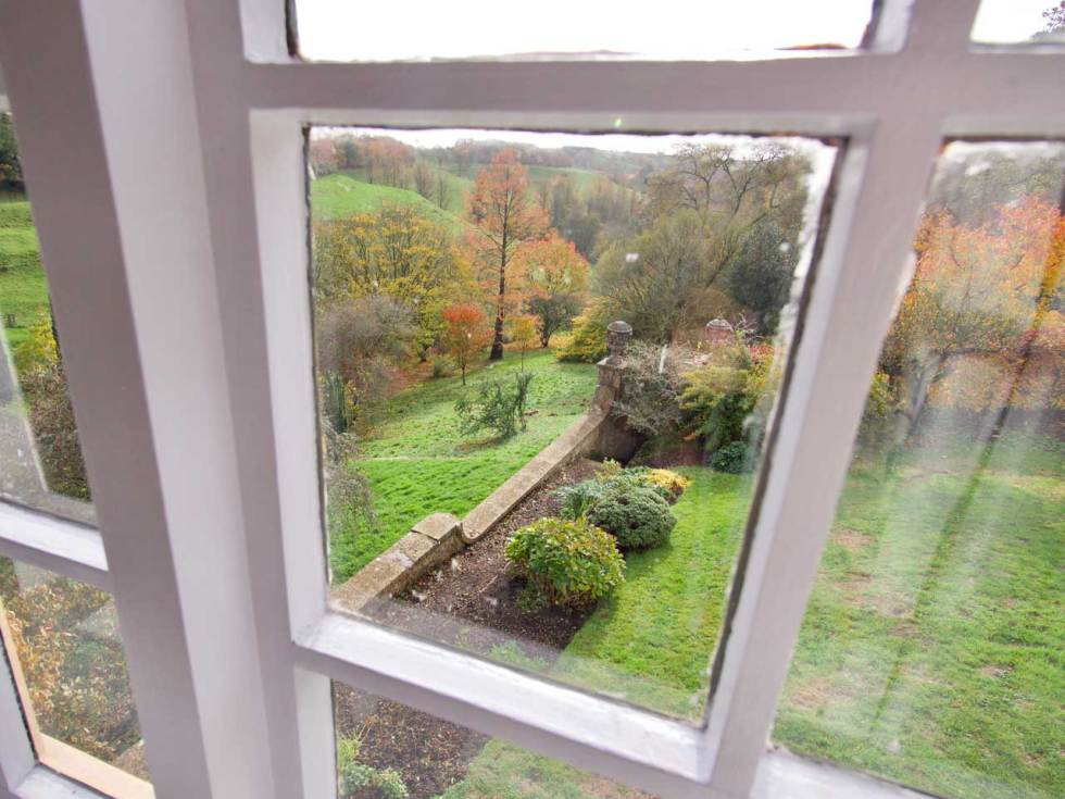 The Garden Cottage view from the window overlooking Mapperton Gardens - wedding accommodation in Dorset