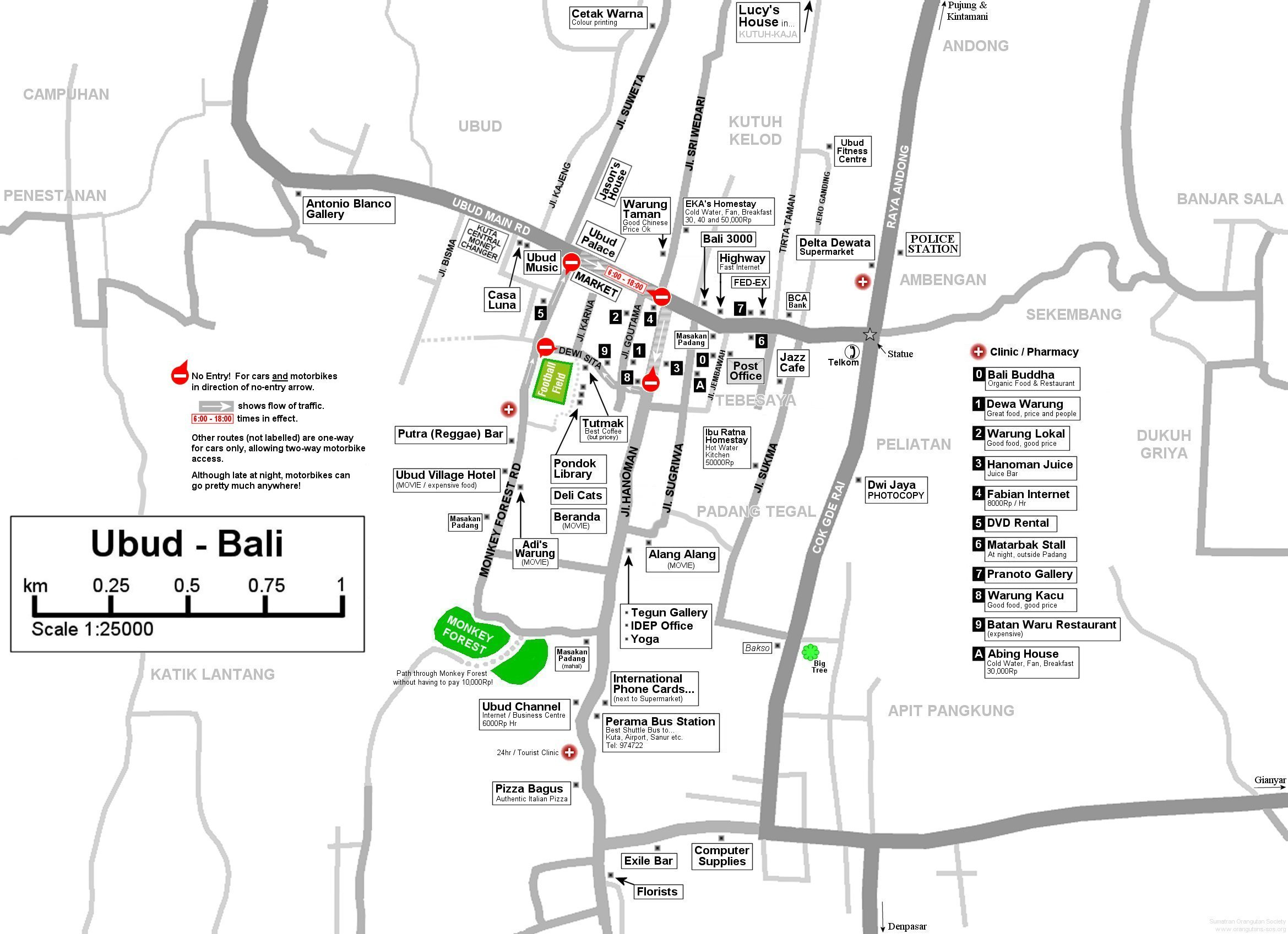 Detail Ubud Bali Map For Travelers