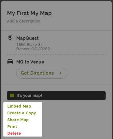 How can we Help    MapQuest Help Embed  make a copy of  share  print  or delete your My Map