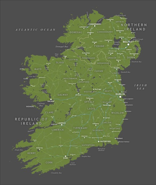 Political map of Ireland   royalty free editable vector   Maproom Editable vector map of Ireland with roads  administrative boundaries  towns  preview