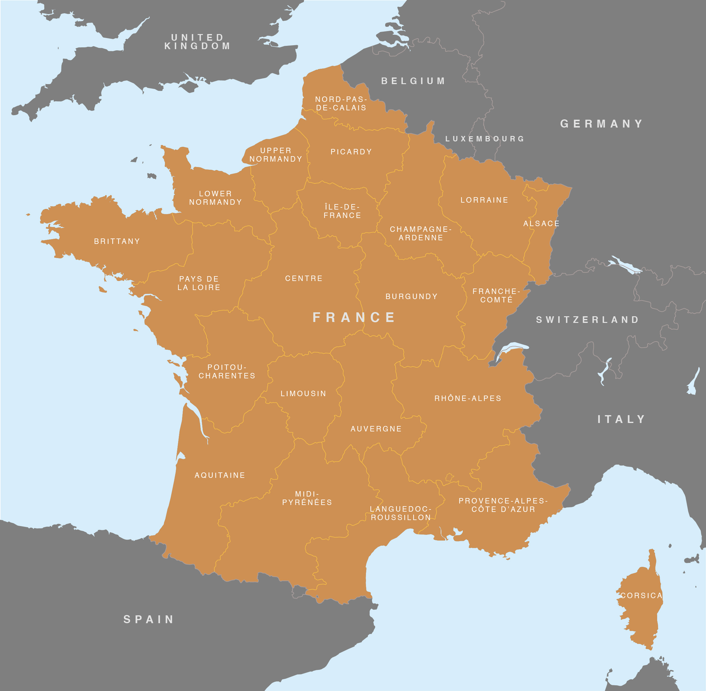 Map of France   French regions   royalty free editable base map Vector map of France preview