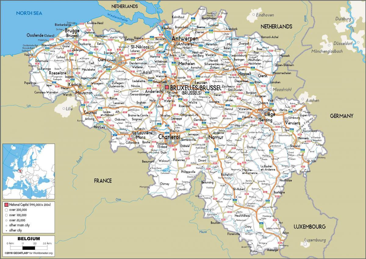 Road Map Of Belgium Shape Belgium Map Western Europe Europe