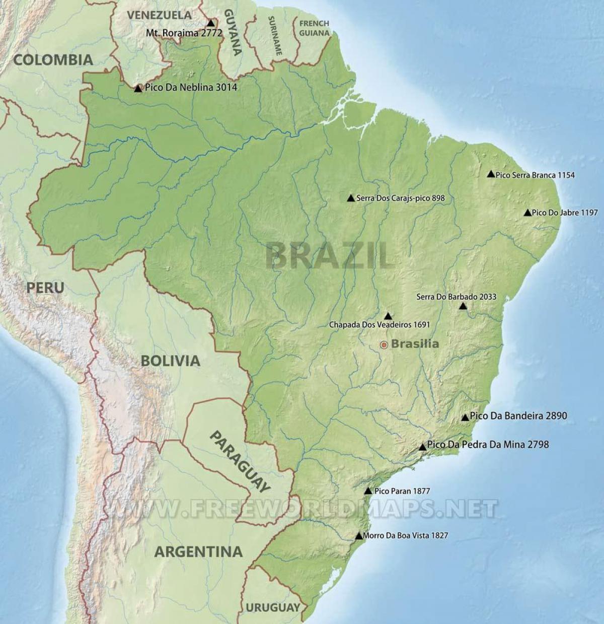 Brazil Mountains Map