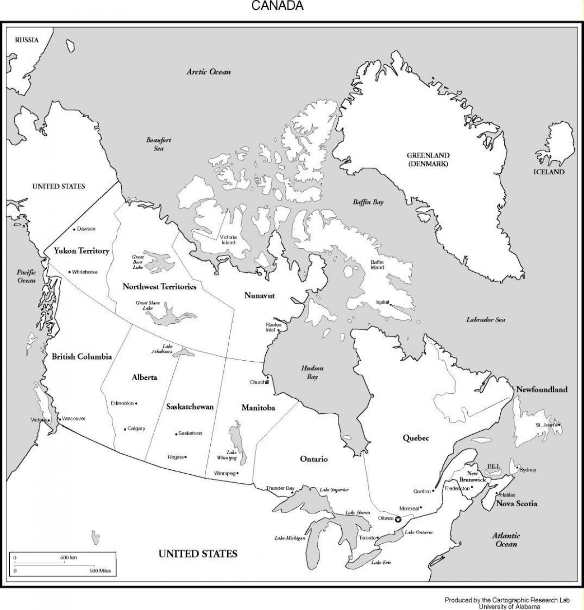 Map Of Canada Black And White