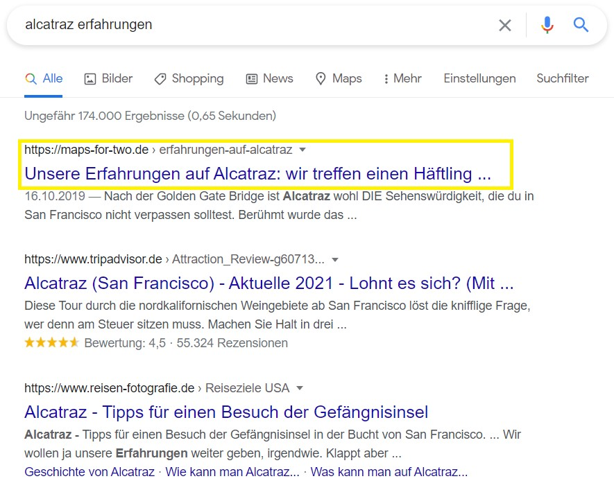 Alcatraz Google Ranking für Kooperation
