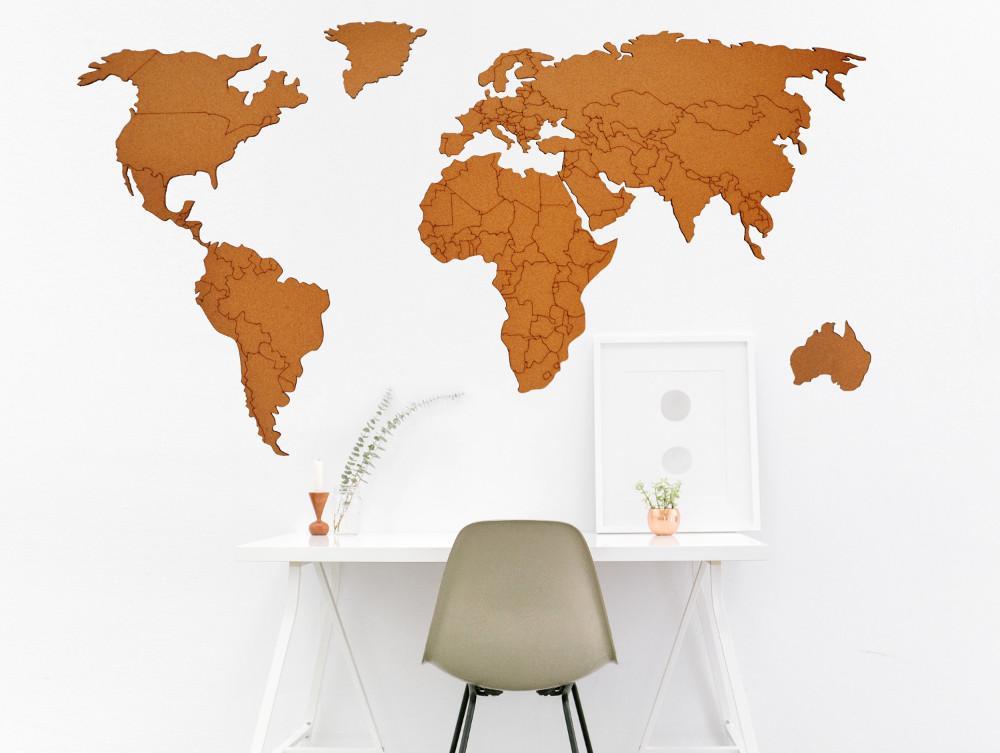 Pinnwand aus Kork Weltkarte mit Lichterkette