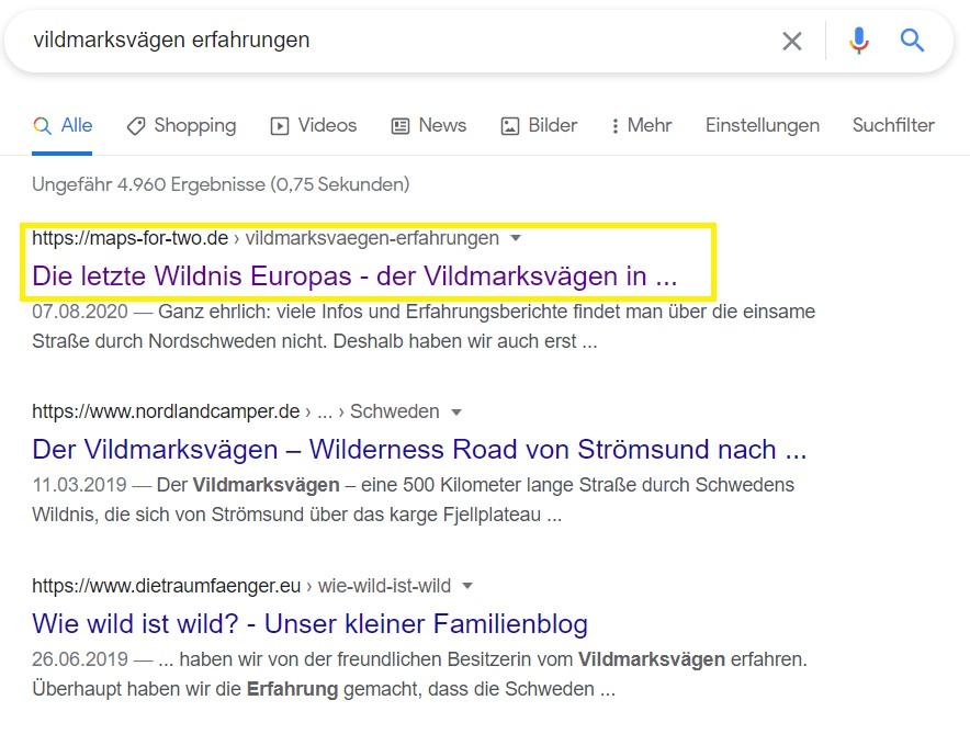 Vildmarksvägen Google Ranking Ergebnis