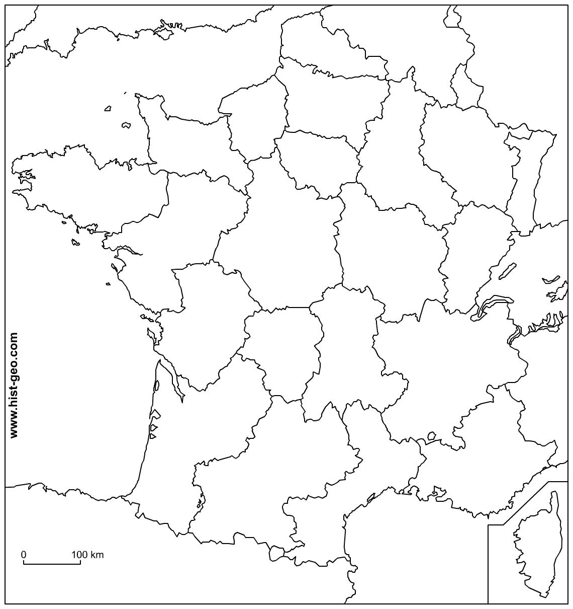 Physical Map Of France Outline