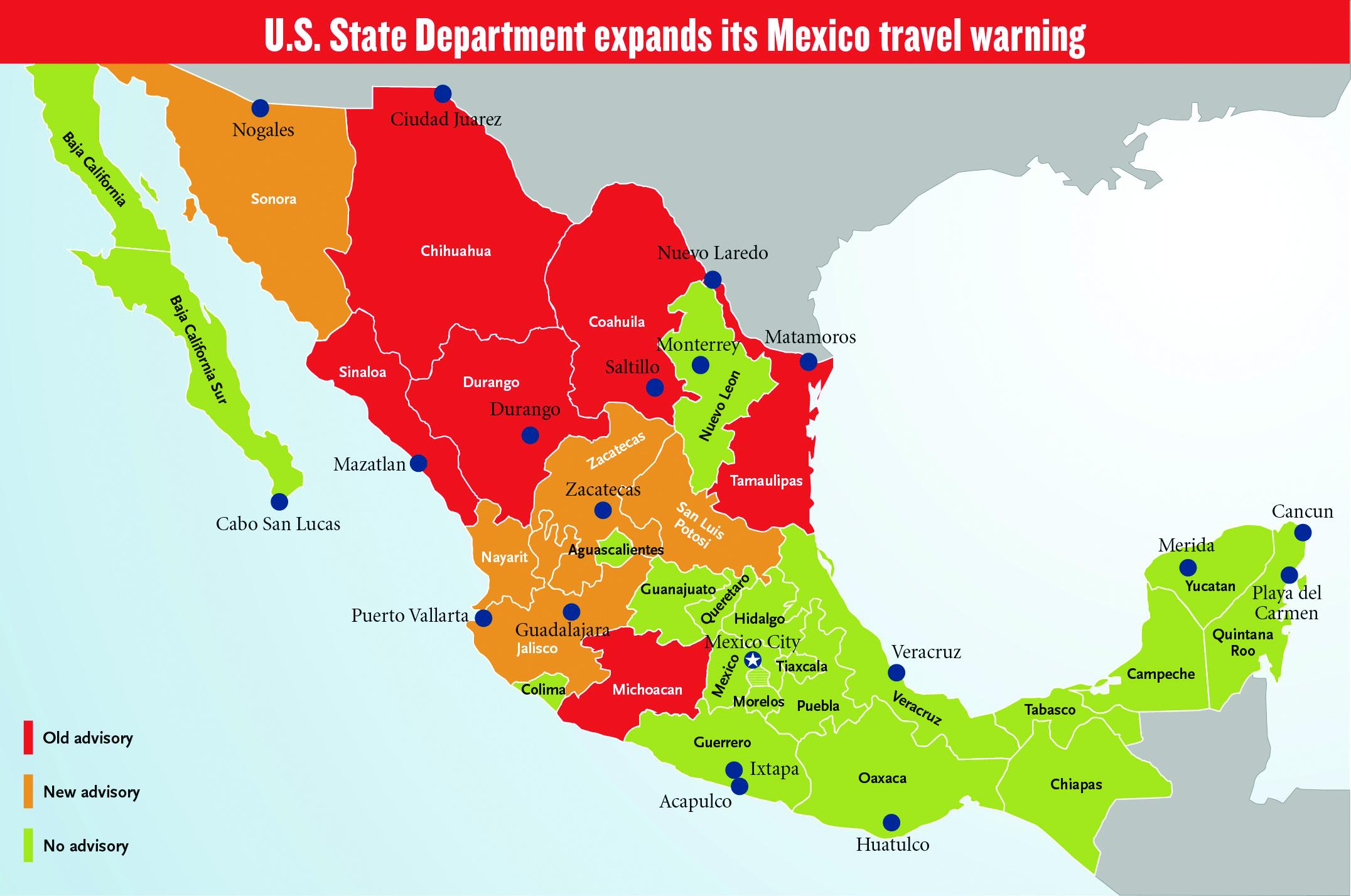 Mexico Travel Warning Map