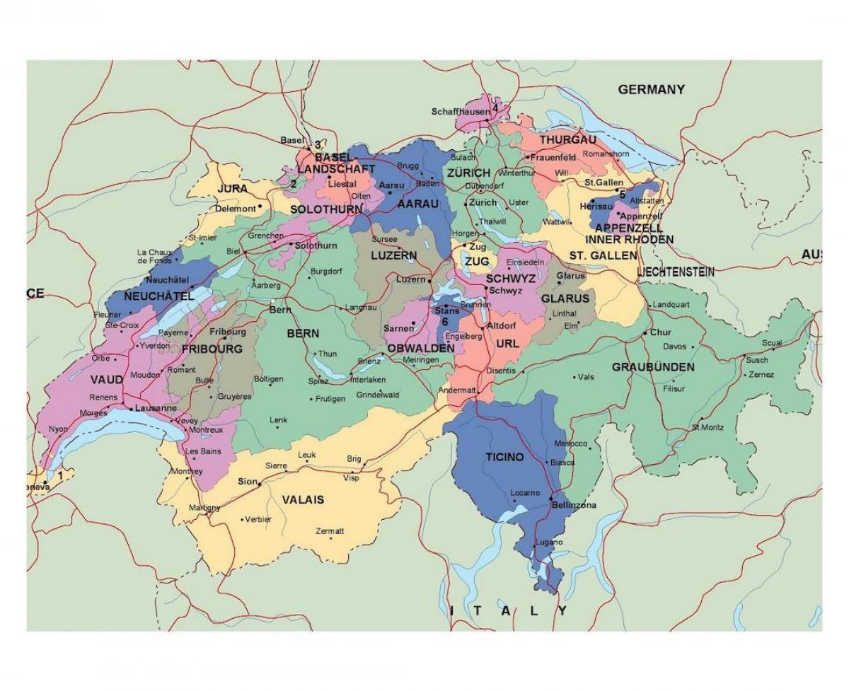 Road Map Of Switzerland Detailed Map Of Switzerland Western Europe Europe