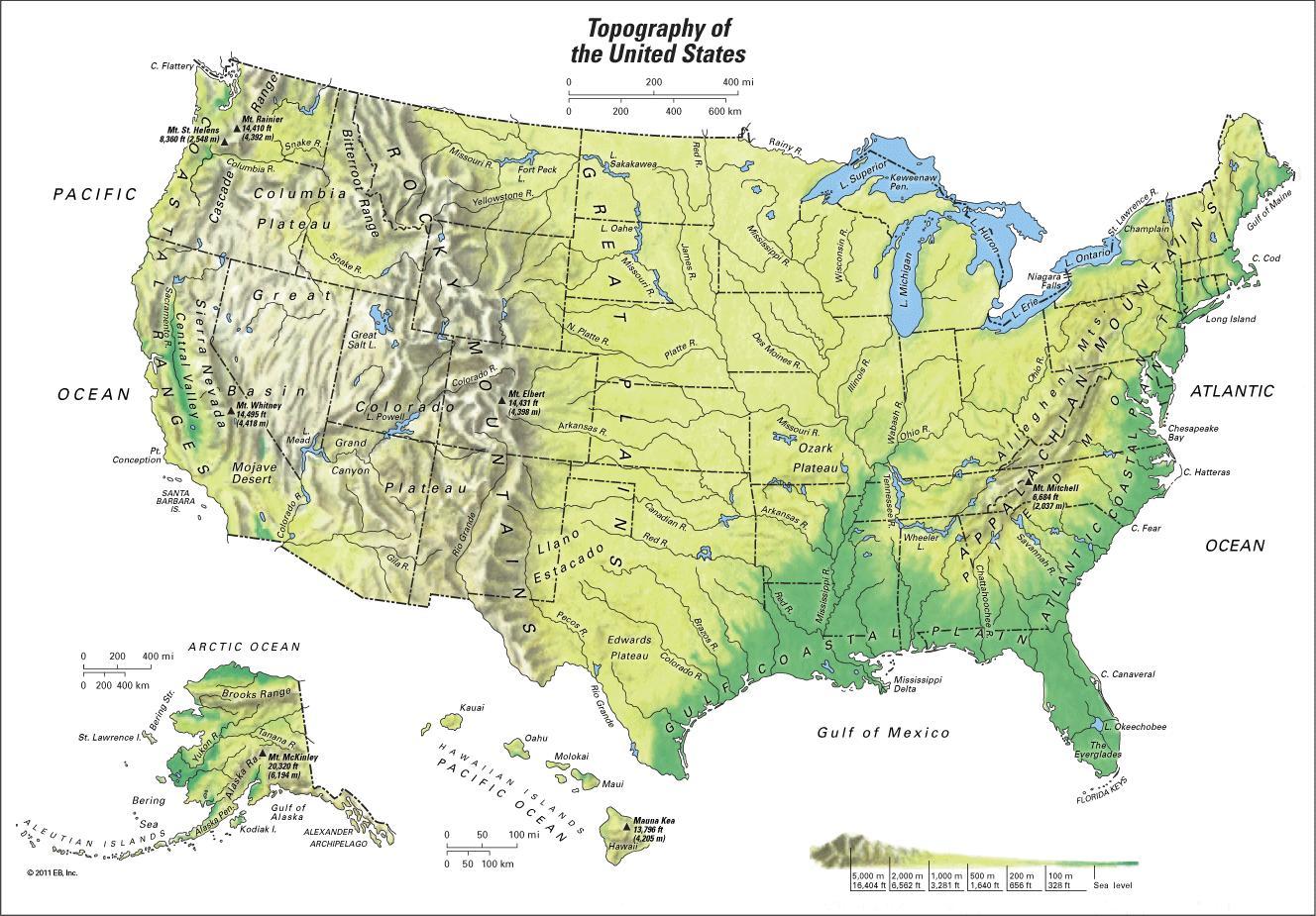 Us Mountain Ranges Map