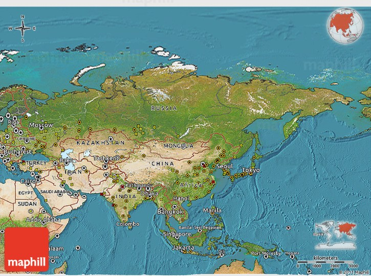 Satellite 3D Map of Asia