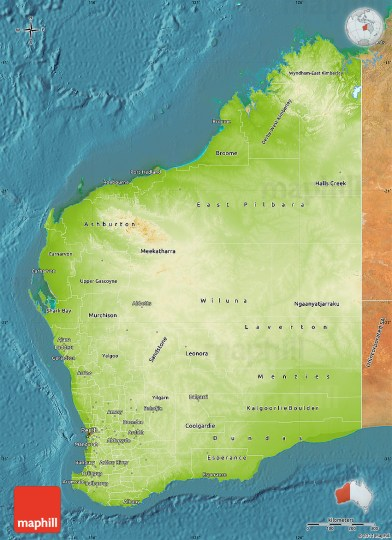 Physical Map of Western Australia  satellite outside 2D