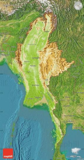 Map of berma agricshow nursery physical map of burma satellite outside publicscrutiny Images