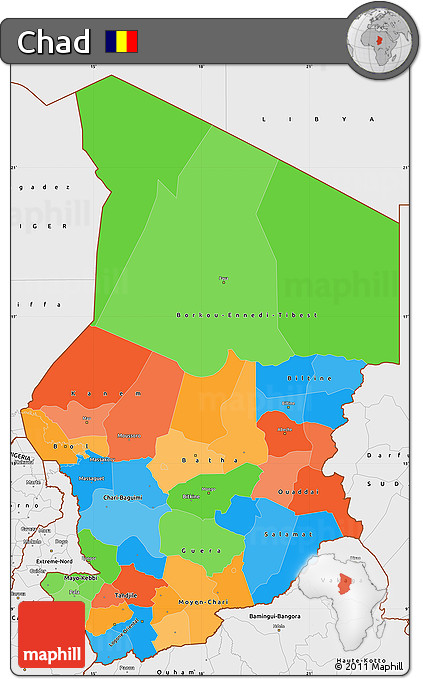Political Simple Map of Chad, single color outside, borders and labels