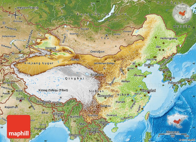 Physical map for china 4k hd images free hd images physical map of china satellite outside shaded relief sea publicscrutiny Images