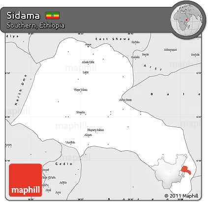 Silver Style Simple Map of Sidama