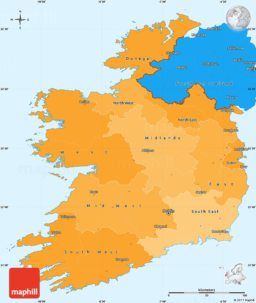 Political Shades Simple Map Of Ireland