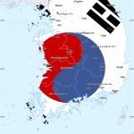 Flag Simple Map Of South Korea Single Color Outside Flag Rotated