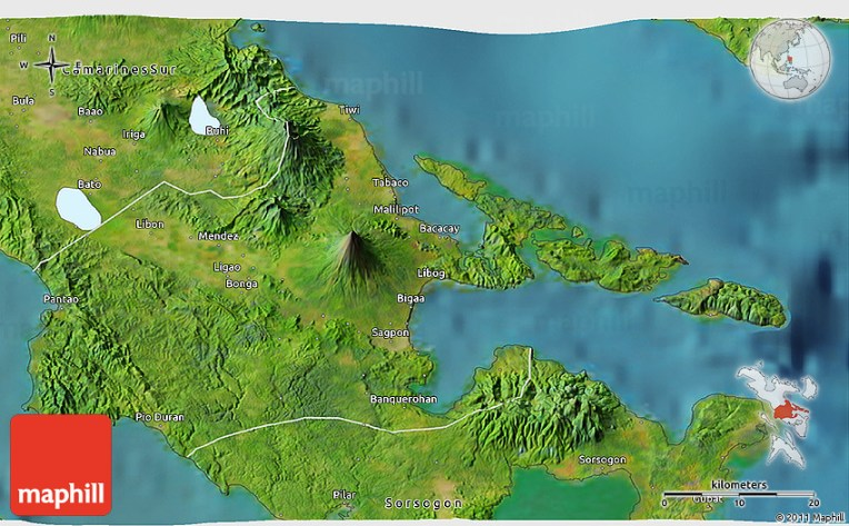 Satellite 3D Map of Albay 2D
