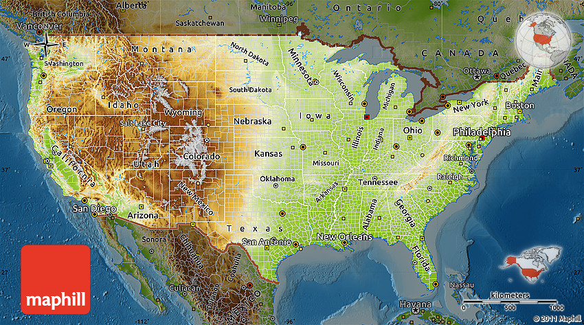 Physical Map of United States  darken 2D