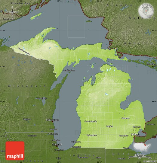 Physical Map of Michigan  darken 2D