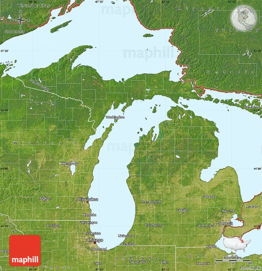 Satellite Map of Michigan