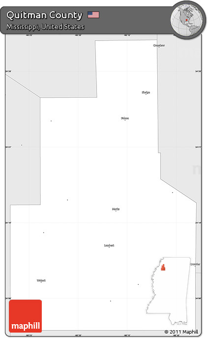 Silver Style Simple Map of Quitman County