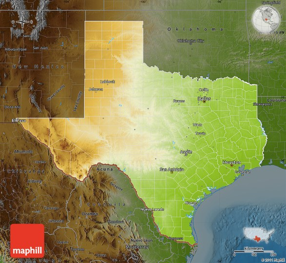 Physical Map of Texas  darken 2D