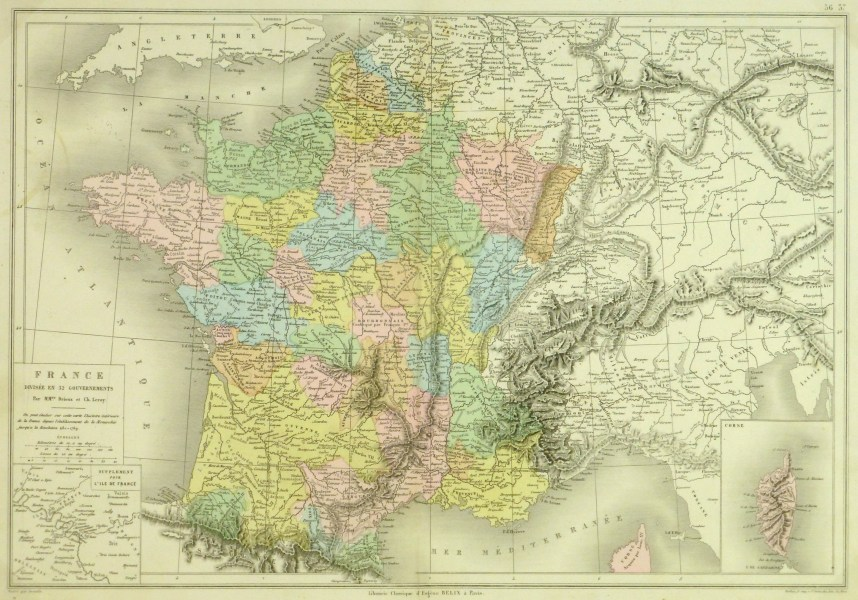 Map of France  1884   Original Art  Antique Maps   Prints France Map  1884 main 9378K