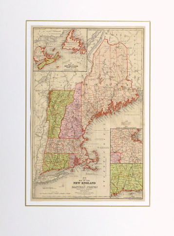 Vintage New England Map  1860   Original Art  Antique Maps   Prints Vintage New England Map  1860 matted  9472K