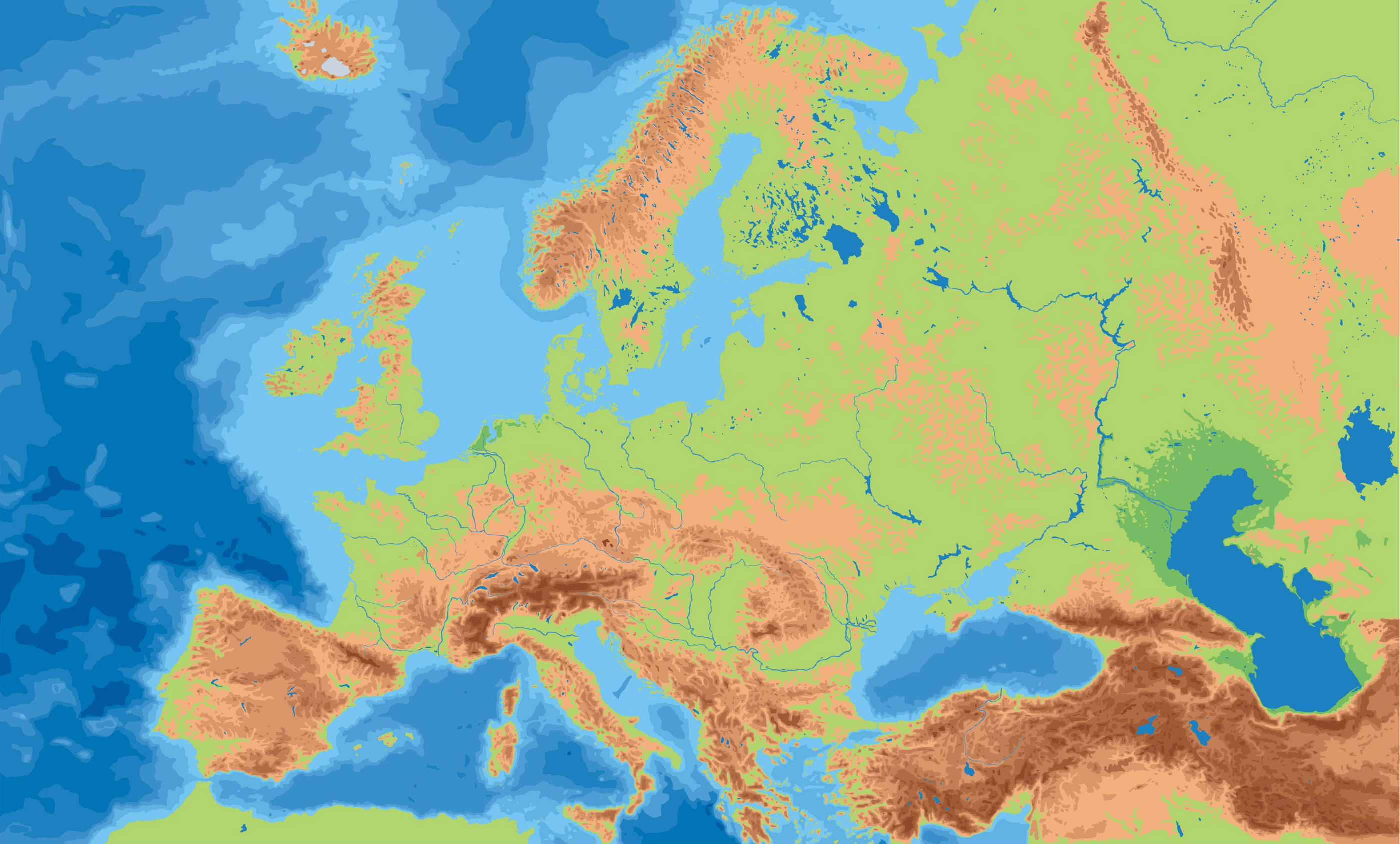 Blank Map Of Europe Mountains