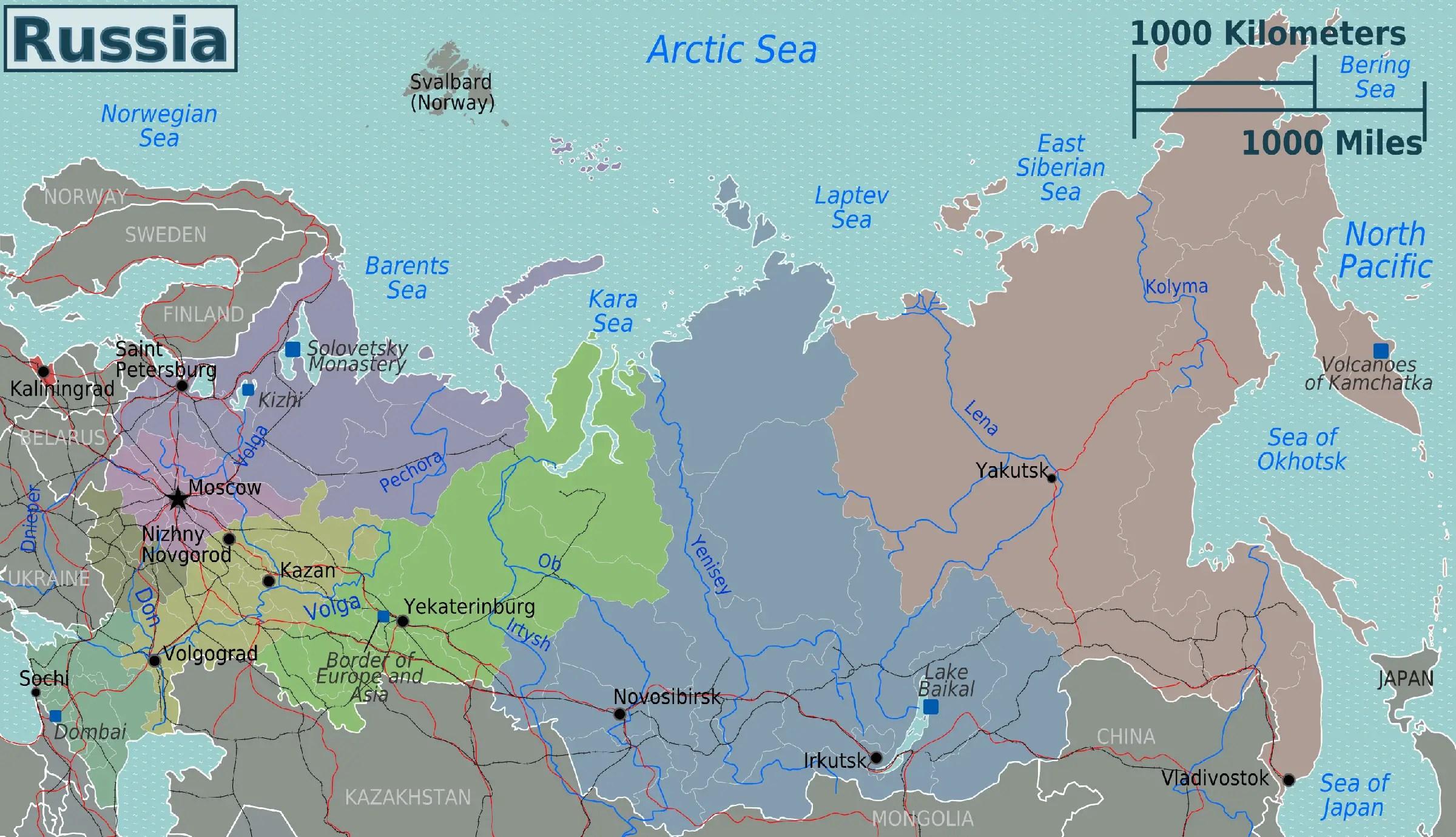 Russia Regions Map Mapsof