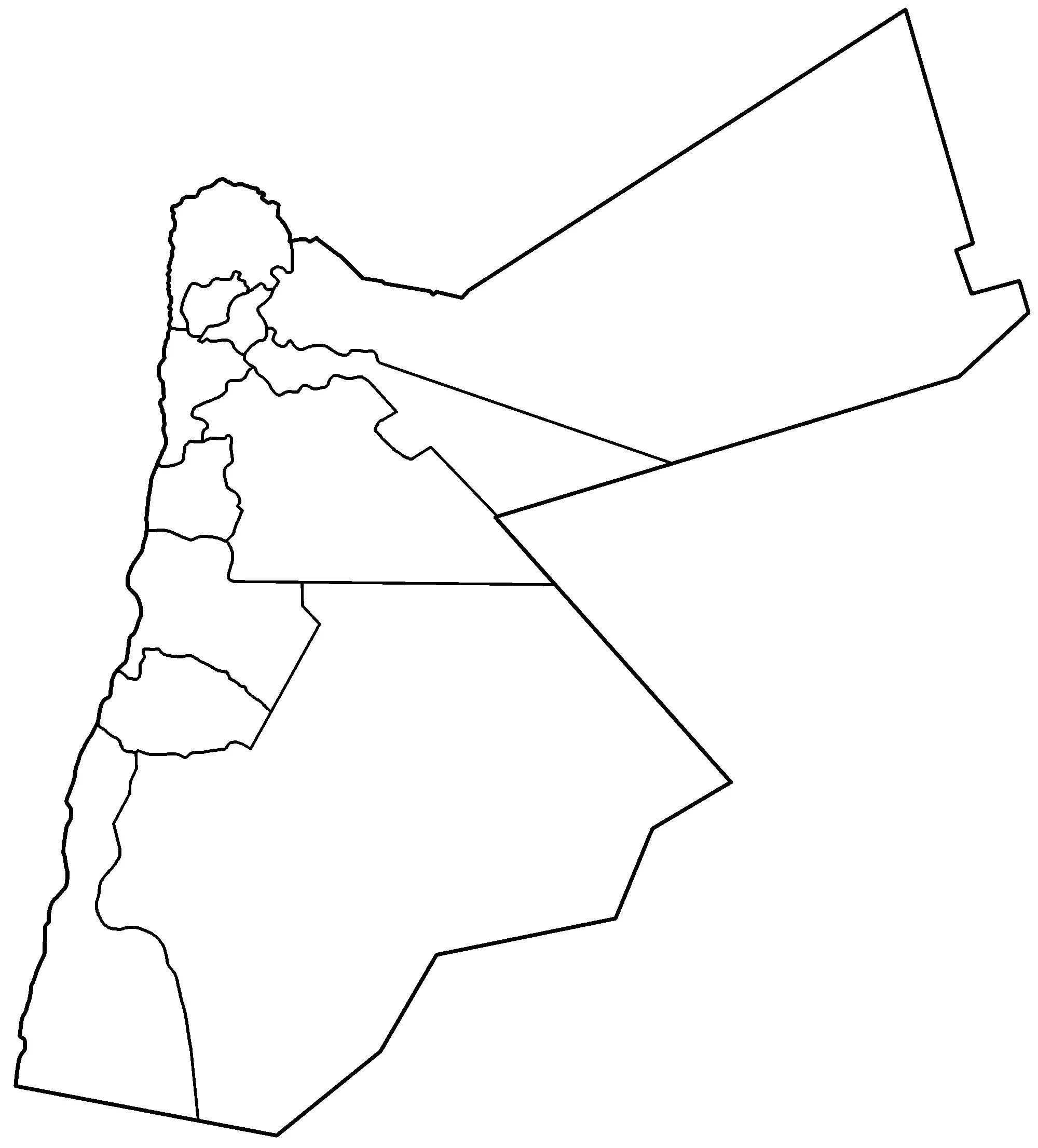 Jordan Governorates Blank Mapsof