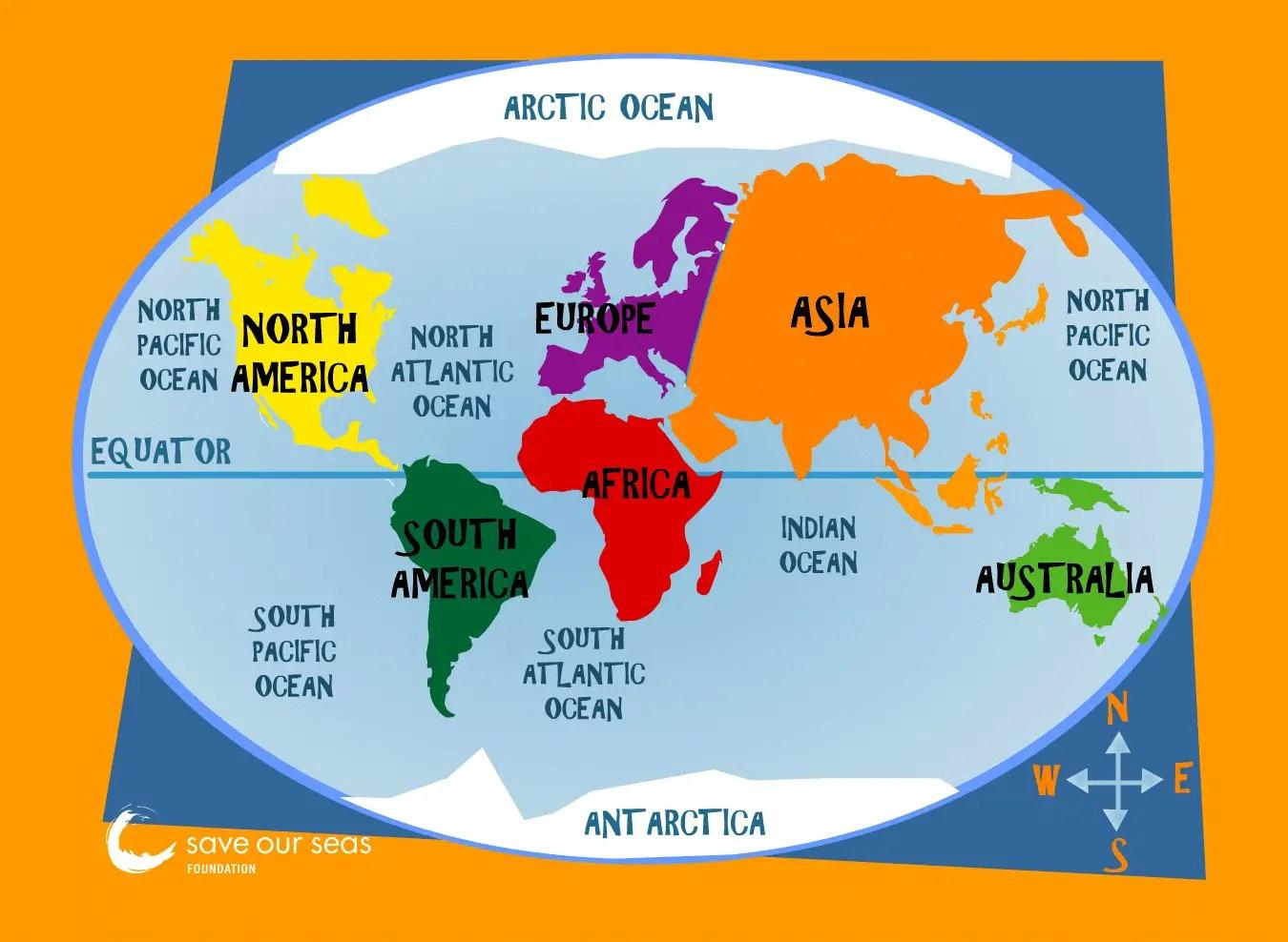 Major Oceans Map Mapsof