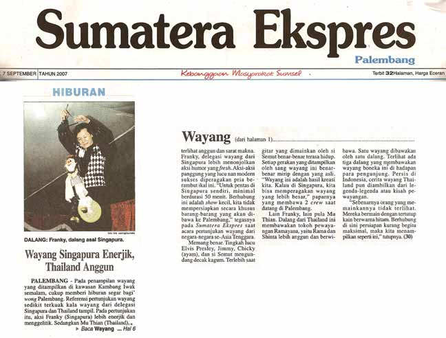 Frankie featured on the front page of Indonesian paper Sumatera Express