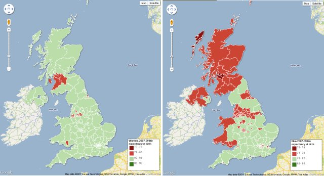 Regional differences in life expectancy in the UK - women (left) and men