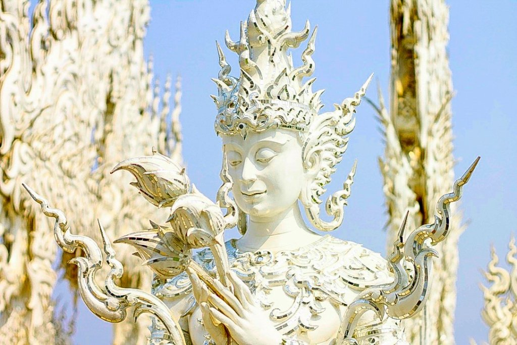 white temple, in chiang rai, thailand