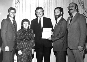 1982, Mrs. Helen Meltzer with U.S. Senator Edward Kennedy and MPHA Past Presidents, (Left to Right) Mr. Maurice May, Dr. Myron Allukian Jr., and Dr. Milton Kotelchuck