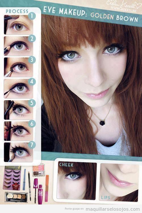 maquillaje de ojos marrn dorado tutorial paso a paso