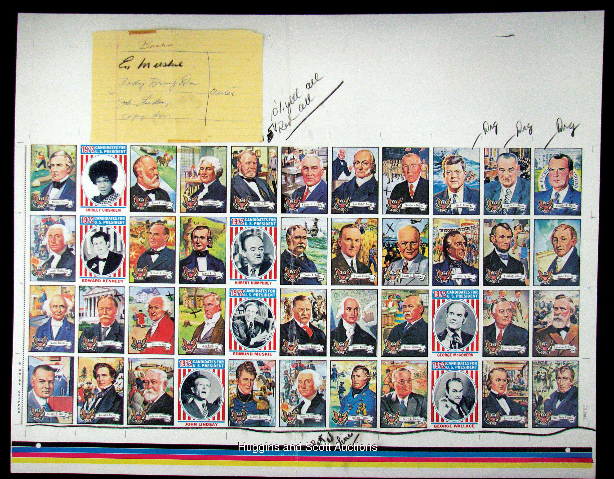 Topps Us Presidents Complete Set Uncut Proof Sheet